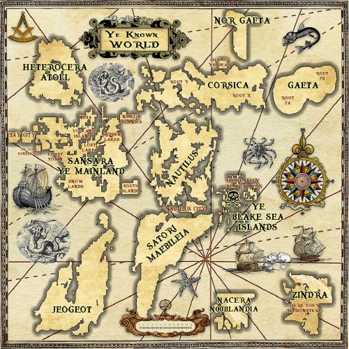 Antique Nautical SL Old World Map